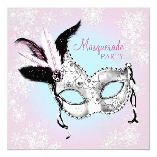 Teal Blue Pink Snowflake Masquerade Party Personalized Invites