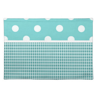 Teal Blue Plaid and Polka Dots Place Mats