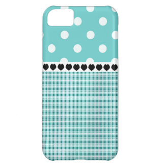 Teal Blue Plaid and Polka Dots V3 iPhone 5C Case