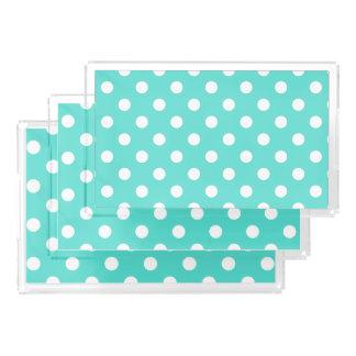 Teal Blue Polka Dot Pattern Acrylic Tray