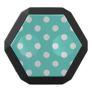 Teal Blue Polka Dot Pattern Black Bluetooth Speaker