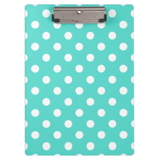 Teal Blue Polka Dot Pattern Clipboard