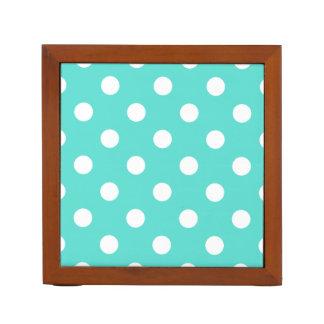 Teal Blue Polka Dot Pattern Desk Organiser