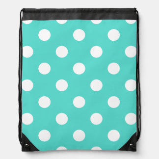 Teal Blue Polka Dot Pattern Drawstring Bag