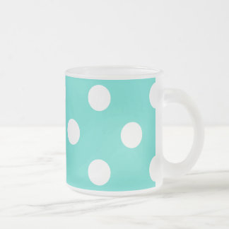Teal Blue Polka Dot Pattern Frosted Glass Coffee Mug
