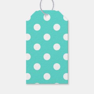Teal Blue Polka Dot Pattern Gift Tags