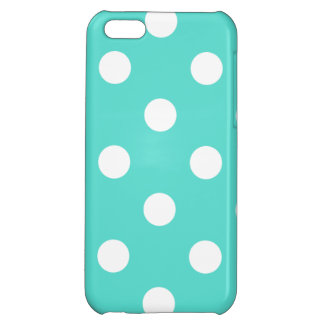 Teal Blue Polka Dot Pattern iPhone 5C Cases