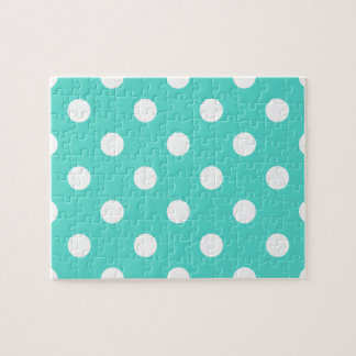Teal Blue Polka Dot Pattern Jigsaw Puzzle