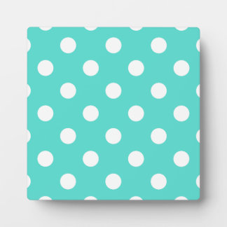 Teal Blue Polka Dot Pattern Plaque