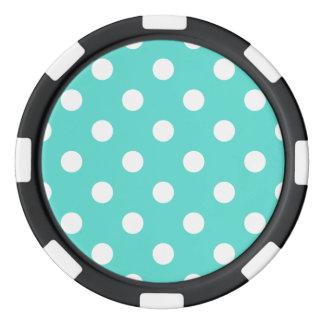 Teal Blue Polka Dot Pattern Poker Chips
