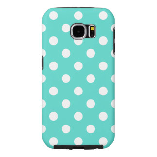 Teal Blue Polka Dot Pattern Samsung Galaxy S6 Cases