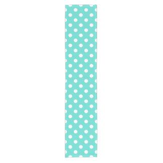 Teal Blue Polka Dot Pattern Short Table Runner