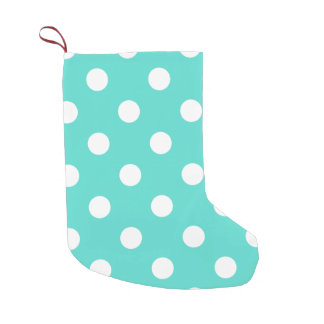 Teal Blue Polka Dot Pattern Small Christmas Stocking