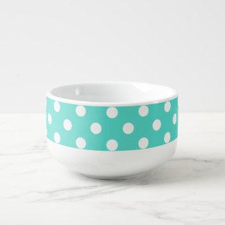 Teal Blue Polka Dot Pattern Soup Mug