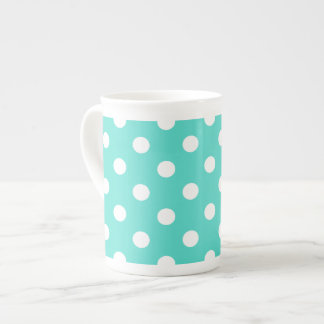 Teal Blue Polka Dot Pattern Tea Cup