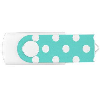Teal Blue Polka Dot Pattern USB Flash Drive