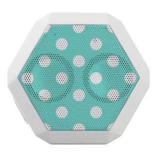 Teal Blue Polka Dot Pattern White Bluetooth Speaker