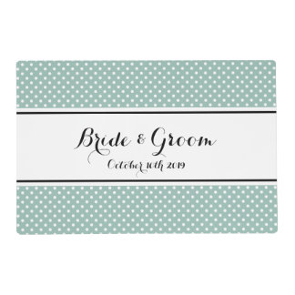 Teal blue polka dots print wedding placemat laminated placemat