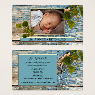 Teal Blue Professional Photographer Business Card