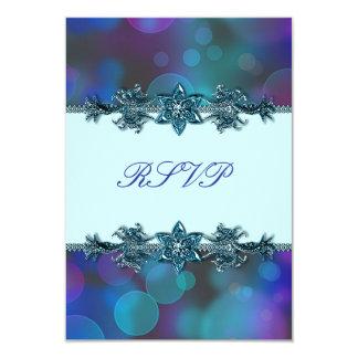 Teal Blue Purple Bubbles Quinceanera RSVP Card