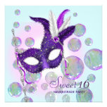 Teal Blue Purple Bubbles Sweet Sixteen Masquerade Invites