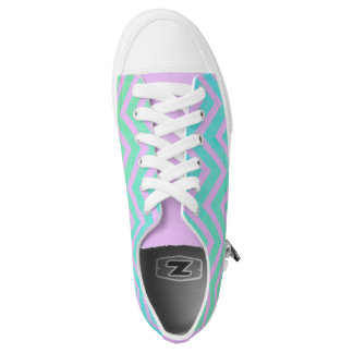 Teal Blue Purple Ombre Chevron Sneaker Printed Shoes