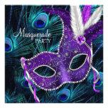 Teal Blue Purple Peacock Masquerade Party Custom Invites