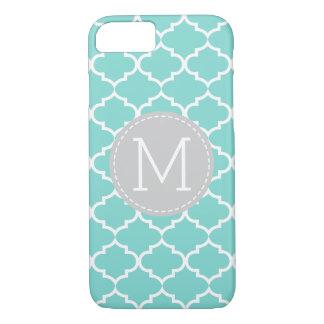 Teal Blue Quatrefoil Personalized Monogram iPhone 8/7 Case