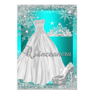 Teal Blue Quinceanera 15th Birthday Party 9 Cm X 13 Cm Invitation Card