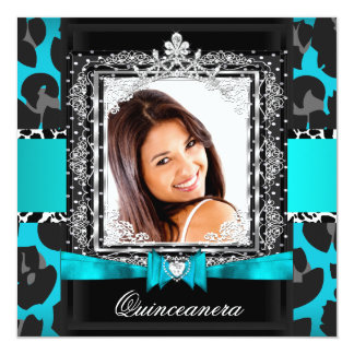 Teal Blue Quinceanera 15th Party Photo Card