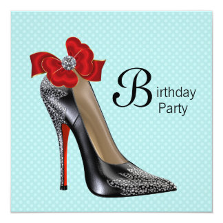 Teal Blue Red Black High Heel Shoe Birthday Party 13 Cm X 13 Cm Square Invitation Card