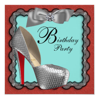 Teal Blue Red Black & Silver High Heel Shoe Birthd Card