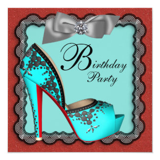 "Teal Blue Red Black & Silver High Heel Shoe Birthd 5.25"" Square Invitation Card"