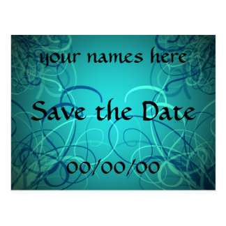 Teal blue ribbons Save the Date post card