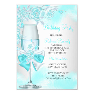 Teal Blue Rose Champagne White Floral Party Card