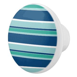 Teal Blue Seafoam Green White Stripes Pattern Ceramic Knob