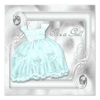 Teal Blue Silver Dress Baby Shower Invitations