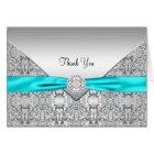 Teal Blue Silver Elegant Thank You Card