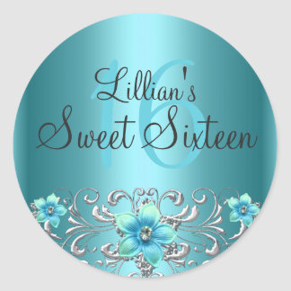 Teal Blue Silver Floral Swirl Sweet 16 Sticker