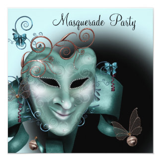 """Teal Blue Silver Mask Masquerade Ball Party 5.25"""" Square Invitation Card"""