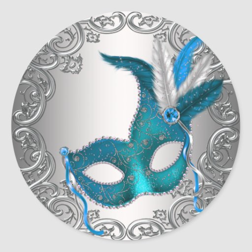 Teal Blue Silver Mask Masquerade Envelope Seal Fav Round Stickers