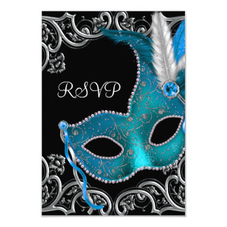 Teal Blue Silver Mask Masquerade Party RSVP 9 Cm X 13 Cm Invitation Card