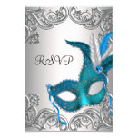 Teal Blue Silver Mask Masquerade Party RSVP Personalized Invitation