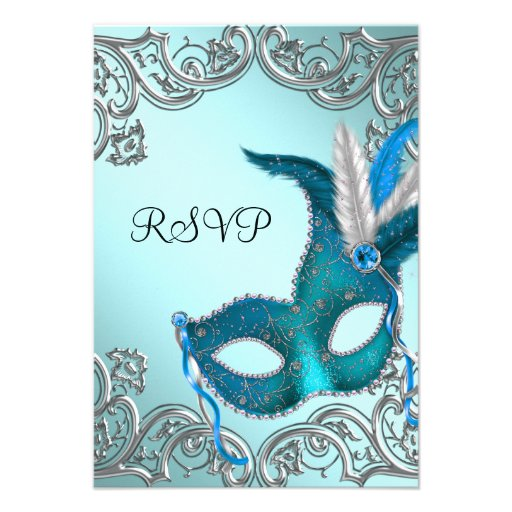 Teal Blue Silver Mask Masquerade Party RSVP Personalized Invite