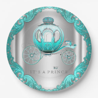 Teal Blue Silver Prince Baby Shower Paper Plate