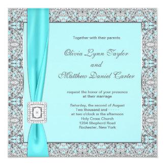Teal Blue Silver Wedding 13 Cm X 13 Cm Square Invitation Card