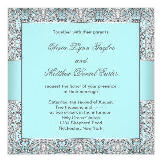 "Teal Blue Silver Wedding 5.25"" Square Invitation Card"