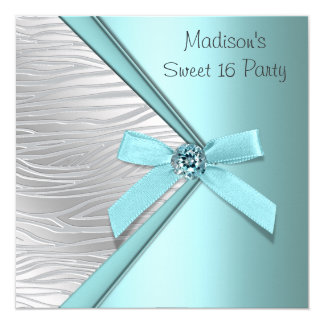 Teal Blue Silver Zebra Sweet 16 Party 13 Cm X 13 Cm Square Invitation Card