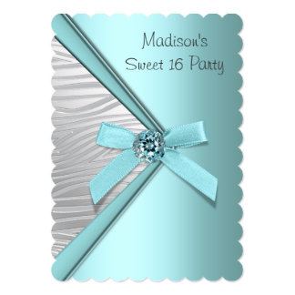 Teal Blue Silver Zebra Sweet 16 Party 13 Cm X 18 Cm Invitation Card