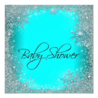 Teal Blue Snowflake Baby Shower Custom Announcements